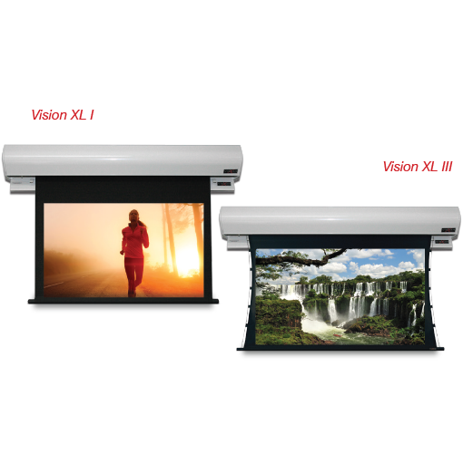 Vision-X L I & Vision-X L III Motorized Screens with Trap Door Projection Screen