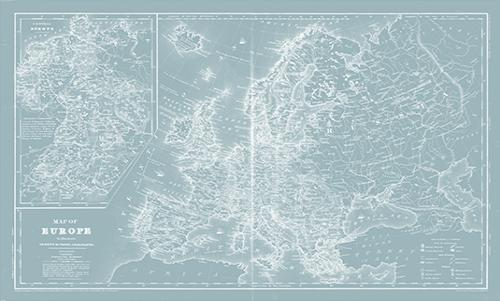 WAMI001R200 Map of Europe on Aqua
