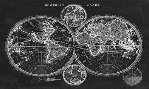 WASW001R200 Charcoal World Map