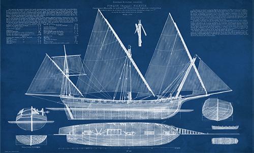 WAVS004R200 Antique Ship Blueprint III