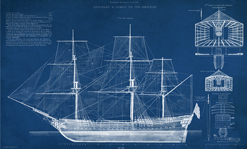 WAVS005R200 Antique Ship Blueprint IV