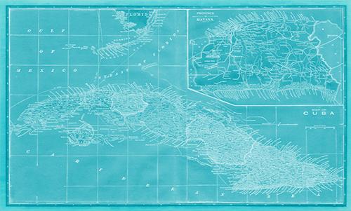 WAVS012R200 Map of Cuba in Aqua