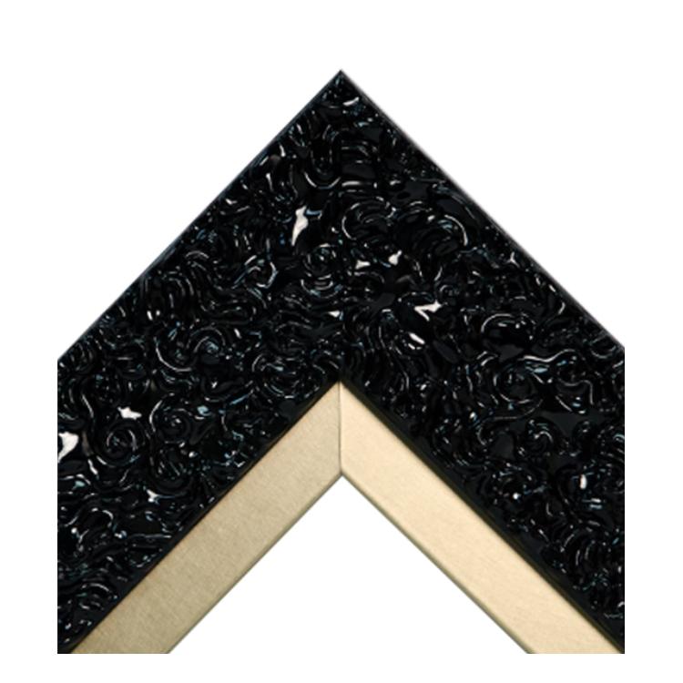 Glossy Black Swirl Metallic Gold