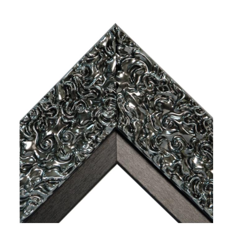 Pewter Swirl Black Satin Textured