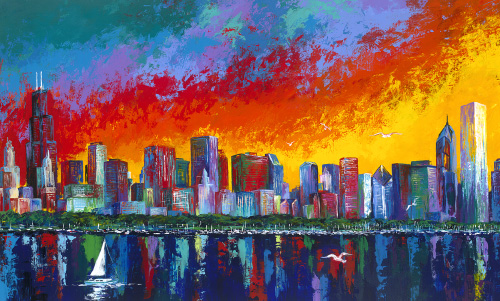 AS004R15 Chicago Skyline Sunset