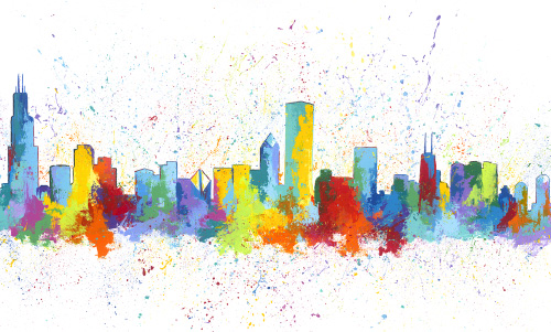 AS005R15 Chicago Skyline White